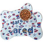 Patriotic Celebration Bone Shaped Dog Food Mat (Personalized)