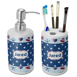 Patriotic Celebration Bathroom Accessories Set (Ceramic) (Personalized)