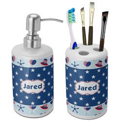 Patriotic Celebration Ceramic Bathroom Accessories Set (Personalized)