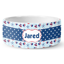 Patriotic Celebration Ceramic Dog Bowl (Personalized)