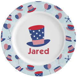 Patriotic Celebration Ceramic Dinner Plates (Set of 4) (Personalized)