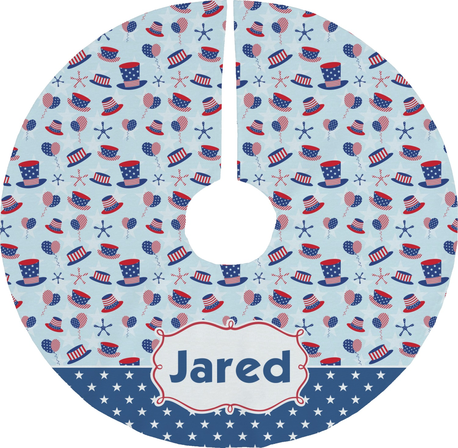 Patriotic celebration tree skirt personalized
