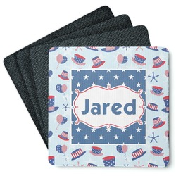 Patriotic Celebration 4 Square Coasters - Rubber Backed (Personalized)