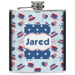 Patriotic Celebration Genuine Leather Flask (Personalized)