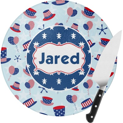 Patriotic Celebration Round Glass Cutting Board (Personalized)