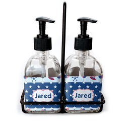 Patriotic Celebration Soap & Lotion Dispenser Set (Glass) (Personalized)