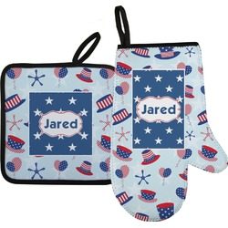 Patriotic Celebration Oven Mitt & Pot Holder (Personalized)