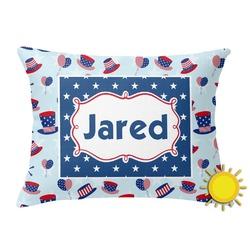 Patriotic Celebration Outdoor Throw Pillow (Rectangular) (Personalized)