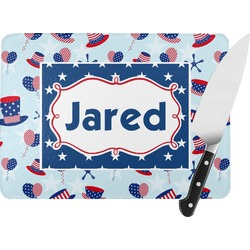 Patriotic Celebration Rectangular Glass Cutting Board (Personalized)