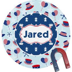 Patriotic Celebration Round Fridge Magnet (Personalized)
