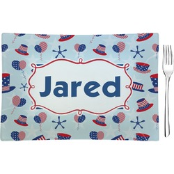Patriotic Celebration Glass Rectangular Appetizer / Dessert Plate - Single or Set (Personalized)