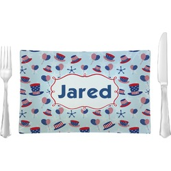 Patriotic Celebration Glass Rectangular Lunch / Dinner Plate - Single or Set (Personalized)