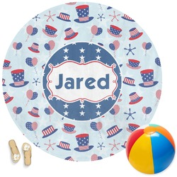 Patriotic Celebration Round Beach Towel (Personalized)