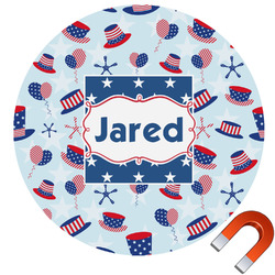 Patriotic Celebration Round Car Magnet (Personalized)