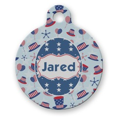 Patriotic Celebration Round Pet Tag (Personalized)