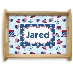 Patriotic Celebration Natural Wooden Tray - Large (Personalized)