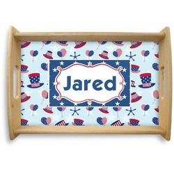 Patriotic Celebration Natural Wooden Tray (Personalized)
