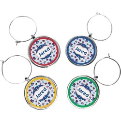 Patriotic Celebration Wine Charms (Set of 4) (Personalized)