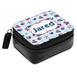 Patriotic Celebration Small Leatherette Travel Pill Case (Personalized)