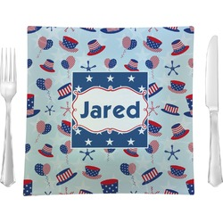 """Patriotic Celebration 9.5"""" Glass Square Lunch / Dinner Plate- Single or Set of 4 (Personalized)"""