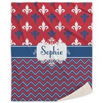 Patriotic Fleur de Lis Sherpa Throw Blanket (Personalized)