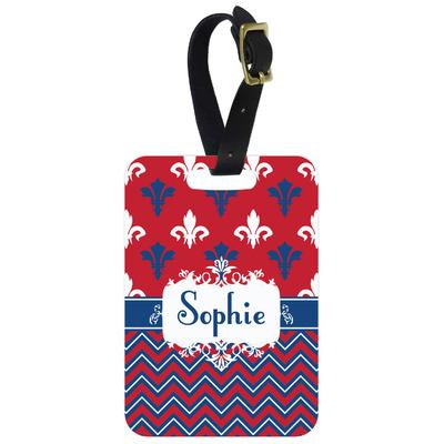 Patriotic Fleur de Lis Metal Luggage Tag w/ Name or Text