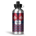 Patriotic Fleur de Lis Water Bottle - Aluminum - 20 oz (Personalized)