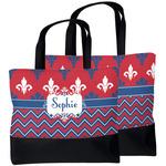 Patriotic Fleur de Lis Beach Tote Bag (Personalized)