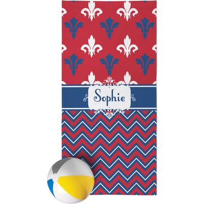 Patriotic Fleur de Lis Beach Towel (Personalized)