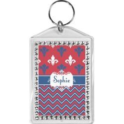 Patriotic Fleur de Lis Bling Keychain (Personalized)