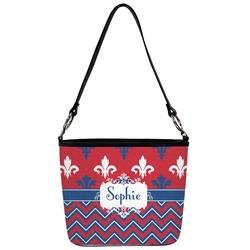 Patriotic Fleur de Lis Bucket Bag w/ Genuine Leather Trim (Personalized)