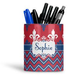 Patriotic Fleur de Lis Ceramic Pen Holder