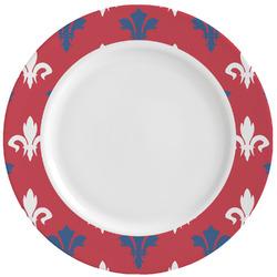 Patriotic Fleur de Lis Ceramic Dinner Plates (Set of 4) (Personalized)