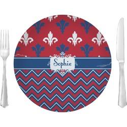 """Patriotic Fleur de Lis 10"""" Glass Lunch / Dinner Plates - Single or Set (Personalized)"""