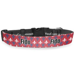 "Patriotic Fleur de Lis Deluxe Dog Collar - Small (8.5"" to 12.5"") (Personalized)"