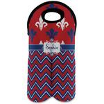 Patriotic Fleur de Lis Wine Tote Bag (2 Bottles) (Personalized)