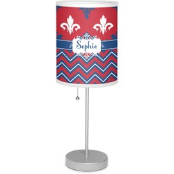 "Patriotic Fleur de Lis 7"" Drum Lamp with Shade (Personalized)"