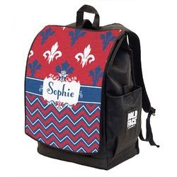 Patriotic Fleur de Lis Backpack w/ Front Flap  (Personalized)