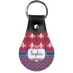 Patriotic Fleur de Lis Genuine Leather  Keychain (Personalized)