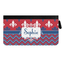 Patriotic Fleur de Lis Genuine Leather Ladies Zippered Wallet (Personalized)