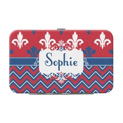 Patriotic Fleur de Lis Genuine Leather Small Framed Wallet (Personalized)