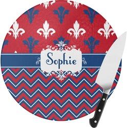 Patriotic Fleur de Lis Round Glass Cutting Board (Personalized)