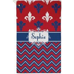 Patriotic Fleur de Lis Golf Towel - Full Print - Small w/ Name or Text
