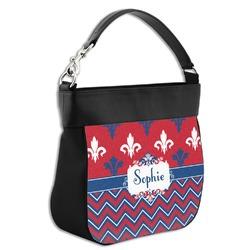 Patriotic Fleur de Lis Hobo Purse w/ Genuine Leather Trim (Personalized)