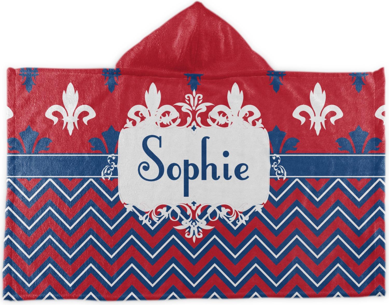 Patriotic fleur de lis hooded towel personalized youcustomizeit - Fleur de lis bath towels ...