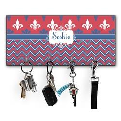 Patriotic Fleur de Lis Key Hanger w/ 4 Hooks (Personalized)
