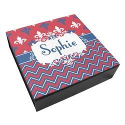 Patriotic Fleur de Lis Leatherette Keepsake Box - 3 Sizes (Personalized)