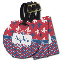 Patriotic Fleur de Lis Plastic Luggage Tags (Personalized)