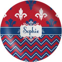 """Patriotic Fleur de Lis 8"""" Melamine Appetizer / Dessert Plate (Personalized)"""