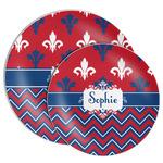 Patriotic Fleur de Lis Melamine Plate (Personalized)
